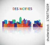 Des moines skyline silhouette in colorful geometric style. Symbol for your design. Vector illustration.