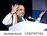 Small photo of GUWAHATI,ASSAM,INDIA 09 SEPTEMBER 2019: Amit Shah delivering speech during the 4th Conclave of the North East Democratic Alliance (NEDA), in Guwahati.