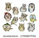 a set of cartoon owls isolated... | Shutterstock . vector #1700807956