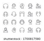 set of earphones related vector ... | Shutterstock .eps vector #1700817580