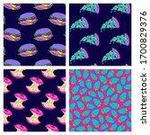 set of 4 crazy space alien...   Shutterstock .eps vector #1700829376