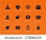 love icons on orange background....