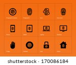 fingerprint icons on orange...