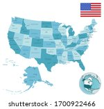 usa administrative blue green... | Shutterstock .eps vector #1700922466