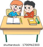 two boys at the school table... | Shutterstock .eps vector #1700962303