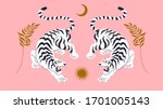Vector Card With Chinese Tigers ...