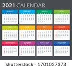 2021 calendar   sunday to... | Shutterstock .eps vector #1701027373