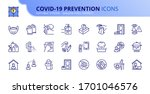 outline icons about coronavirus ... | Shutterstock .eps vector #1701046576