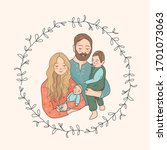 a happy family. cute cartoon... | Shutterstock .eps vector #1701073063