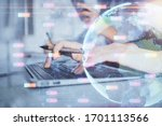 Small photo of Double exposure of woman hands working on computer and world map hologram drawing. International technology business concept.
