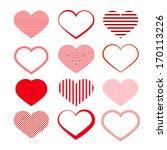 heart set. red valentine...   Shutterstock .eps vector #170113226