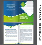 Vector empty brochure template design with bright green and blue elements - stock vector