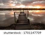 Sunrise at the Old Jetty at the Lagoon, Moreton Bay, Queensland.