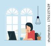 pretty woman daydreaming beside ... | Shutterstock .eps vector #1701157639
