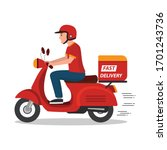 man riding red scooter delivery ... | Shutterstock .eps vector #1701243736