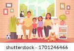 happy family is sitting on the... | Shutterstock .eps vector #1701246466