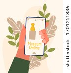 museum exhibit online concept....   Shutterstock .eps vector #1701251836