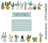 cartoon home plants and... | Shutterstock .eps vector #1701268690