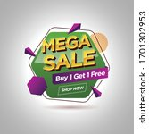 mega sale promotion banner with ... | Shutterstock .eps vector #1701302953