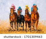 Oil Painting   Horse Racing