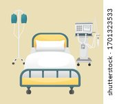 a hospital room with a bed  a... | Shutterstock .eps vector #1701323533