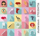 piercing icons set. flat set of ... | Shutterstock .eps vector #1701334756