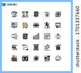 group of 25 modern filled line... | Shutterstock .eps vector #1701337660