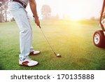 golf approach shot with iron... | Shutterstock . vector #170135888