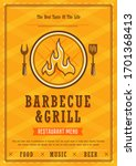 restaurant menu. barbecue and... | Shutterstock .eps vector #1701368413