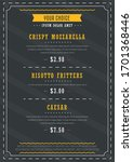 restaurant menu board design... | Shutterstock .eps vector #1701368446