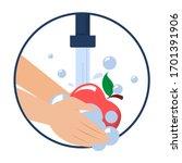 hand washing apple vector... | Shutterstock .eps vector #1701391906
