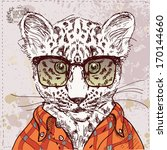 vector hipster leopard with... | Shutterstock .eps vector #170144660