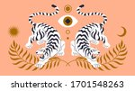 Vector Card With Chinese Tiger...