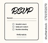 rsvp   wedding card template.... | Shutterstock .eps vector #1701552070