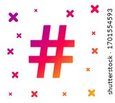 color hashtag icon isolated on...