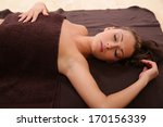 beautiful girl lying on the... | Shutterstock . vector #170156339
