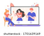 online party  birthday  meeting ... | Shutterstock .eps vector #1701639169