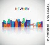newark skyline silhouette in...   Shutterstock .eps vector #1701686659