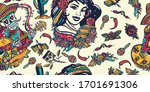 mexico. seamless pattern.... | Shutterstock .eps vector #1701691306