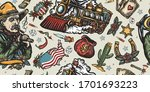 wild west seamless pattern.... | Shutterstock .eps vector #1701693223