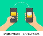 hand holds a mobile phone on... | Shutterstock .eps vector #1701695326