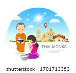 women offering alms to thai...   Shutterstock .eps vector #1701713353