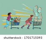 panic epidemic masked women in... | Shutterstock .eps vector #1701715393