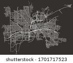 Road street urban black and white map of Dayton, Ohio, USA