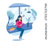 girl at home reading book with...   Shutterstock .eps vector #1701722740
