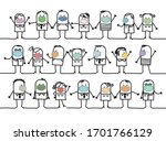 hand drawn cartoon group of...   Shutterstock .eps vector #1701766129