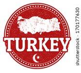 vintage stamp with world turkey ... | Shutterstock .eps vector #170177630