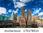 Stock photo a bridge and the boston skyline seen from fort point 170178014