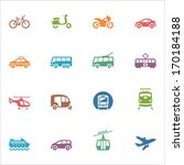 Transportation Icons - Colored Series  - stock vector