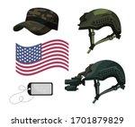 military head ware  usa flag ...